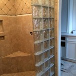 Walk-in Glass Block Shower With A Seat