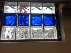Dark Blue And Clear Glass Block Window