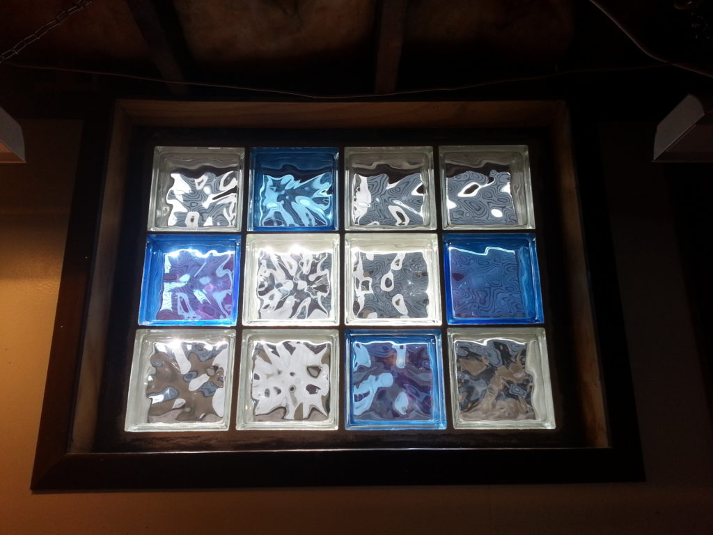 Blue And Clear Glass Block Window