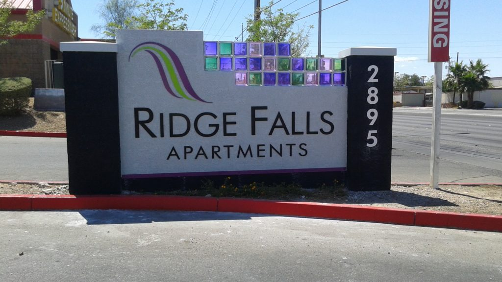 Color glass block in a sign